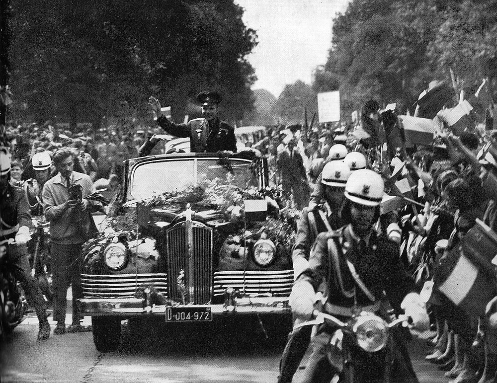 Gagarin in Warsaw, Poland, in 1961 on his world tour
