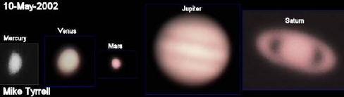 Mercury, Venus, Mars, Jupiter, Saturn