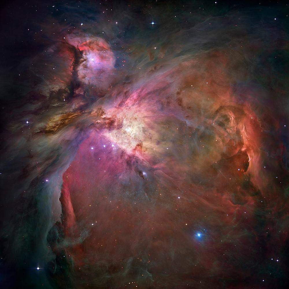 The Orion Nebula (an HII region and emission nebula)