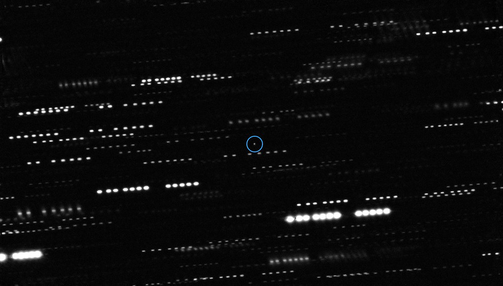 Combined image of 1I/2017 U1 (`Oumuamua) (in blue) observed by the Very Large Telescope and Gemini South Telescope, with star trails smearing the background.