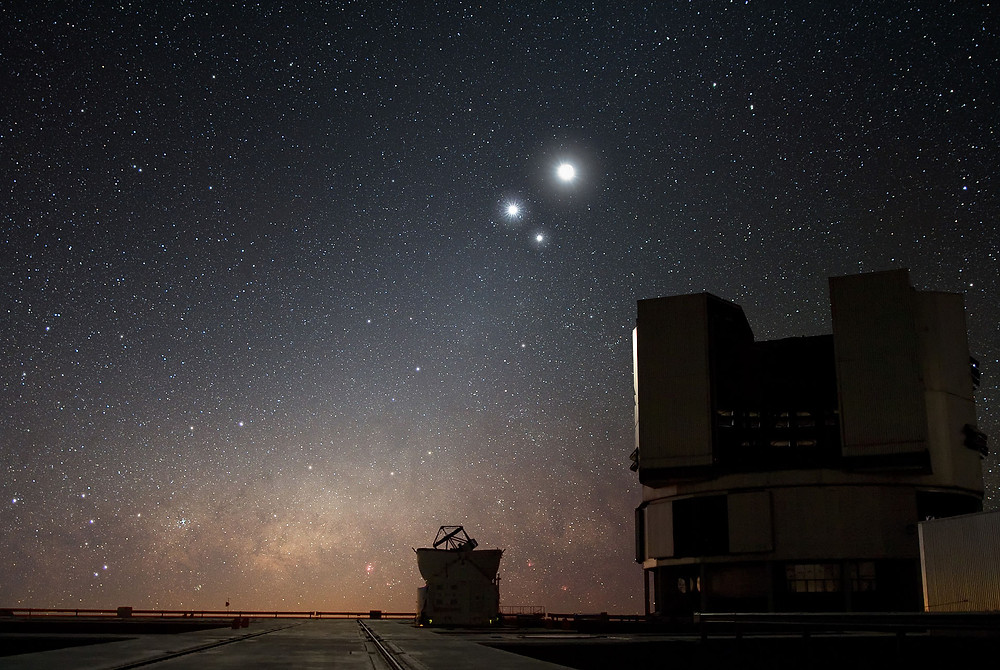 ESO Very Large Telescope, Moon, Venus and Jupiter in 2009
