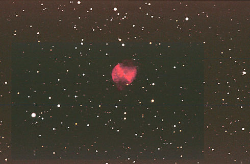 © Dave Timperley, M27 38min/20min 2 images stacked Brighter parts of the nebula had burned out, causing a loss of detail, so stacking a shorter exposure on top has remedied this to some degree (possibly due to reciprocity of film)