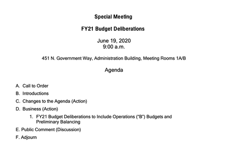 Fiscal Year 2021 Budget Deliberations