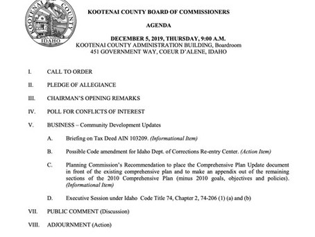 County Commissioner Meeting - Dec. 5th, Thursday, at 9 am.