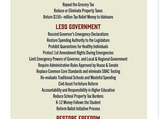 Details on the Idaho Conservative Agenda 2021