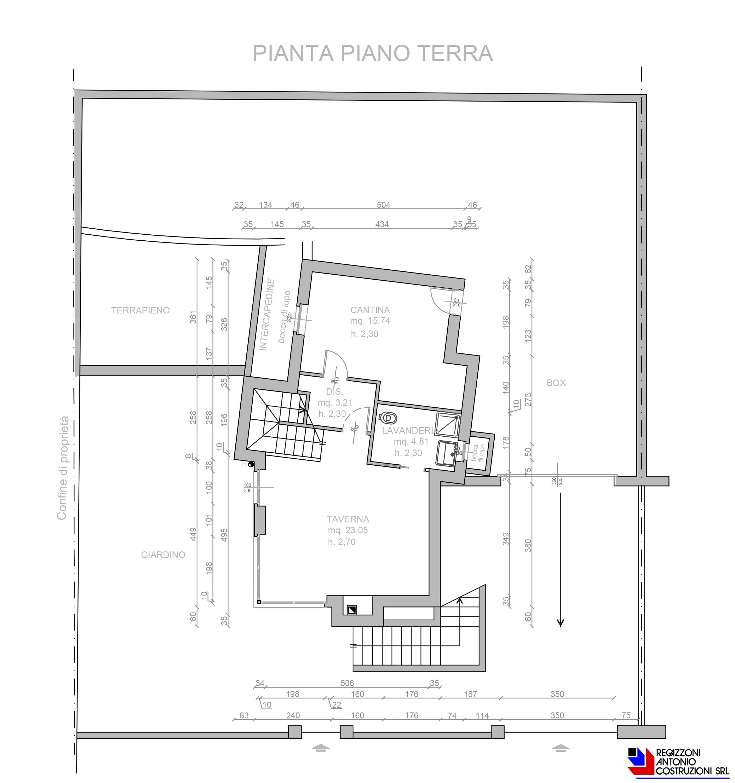 Pianta piano terra Villetta Olmo - scala 1a100 2
