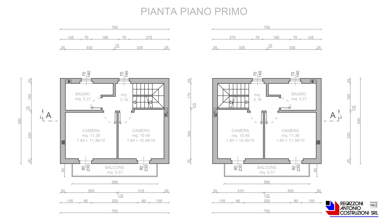 Pianta piano primo villette - scala 1a100