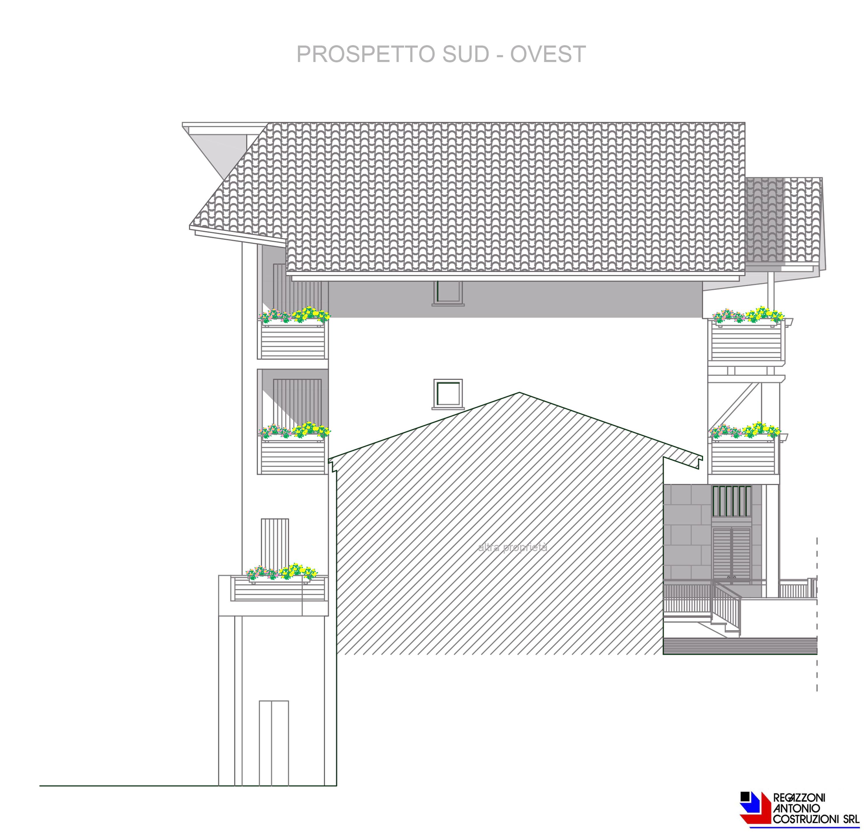 Prospetto sud-ovest Lotto E - scala 1a100