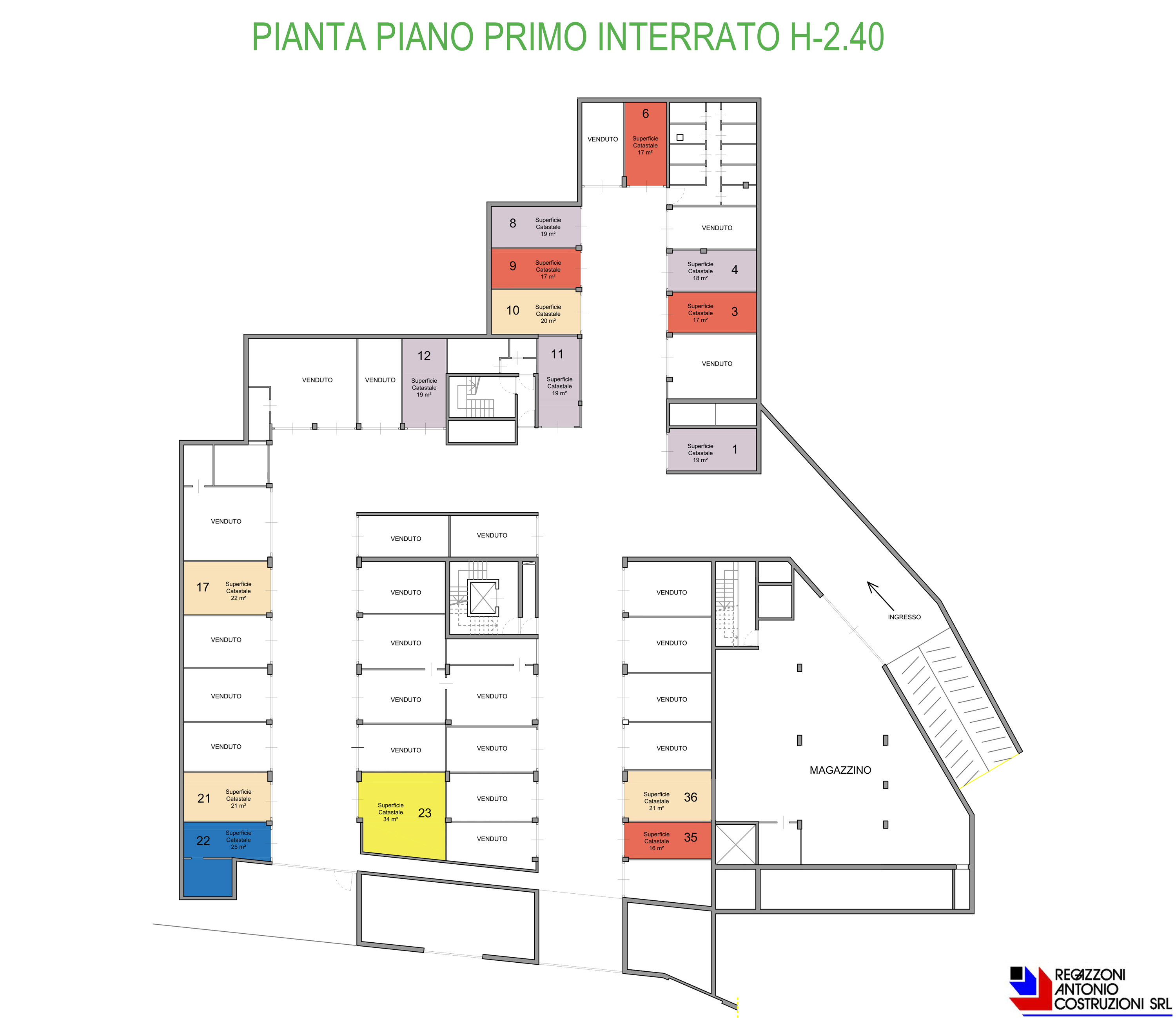 Pianta generale piano primo interrato - scala1a200