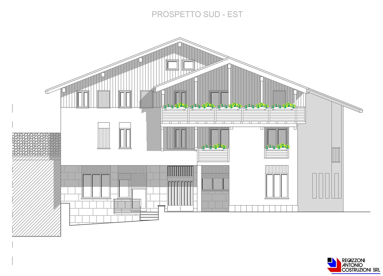 Prospetto sud-est Lotto E - scala 1a100