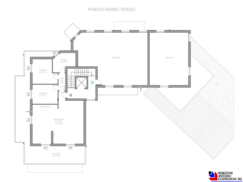 Pianta piano terzo Olmo - scala 1a100