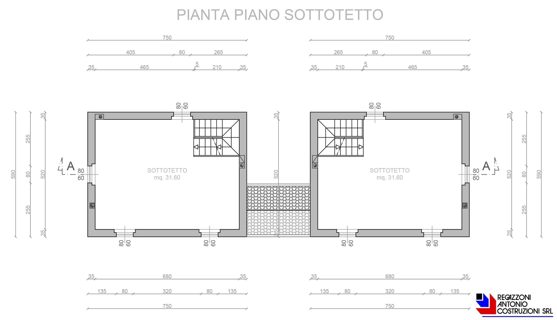 Pianta piano sottotetto villette - scala 1a100