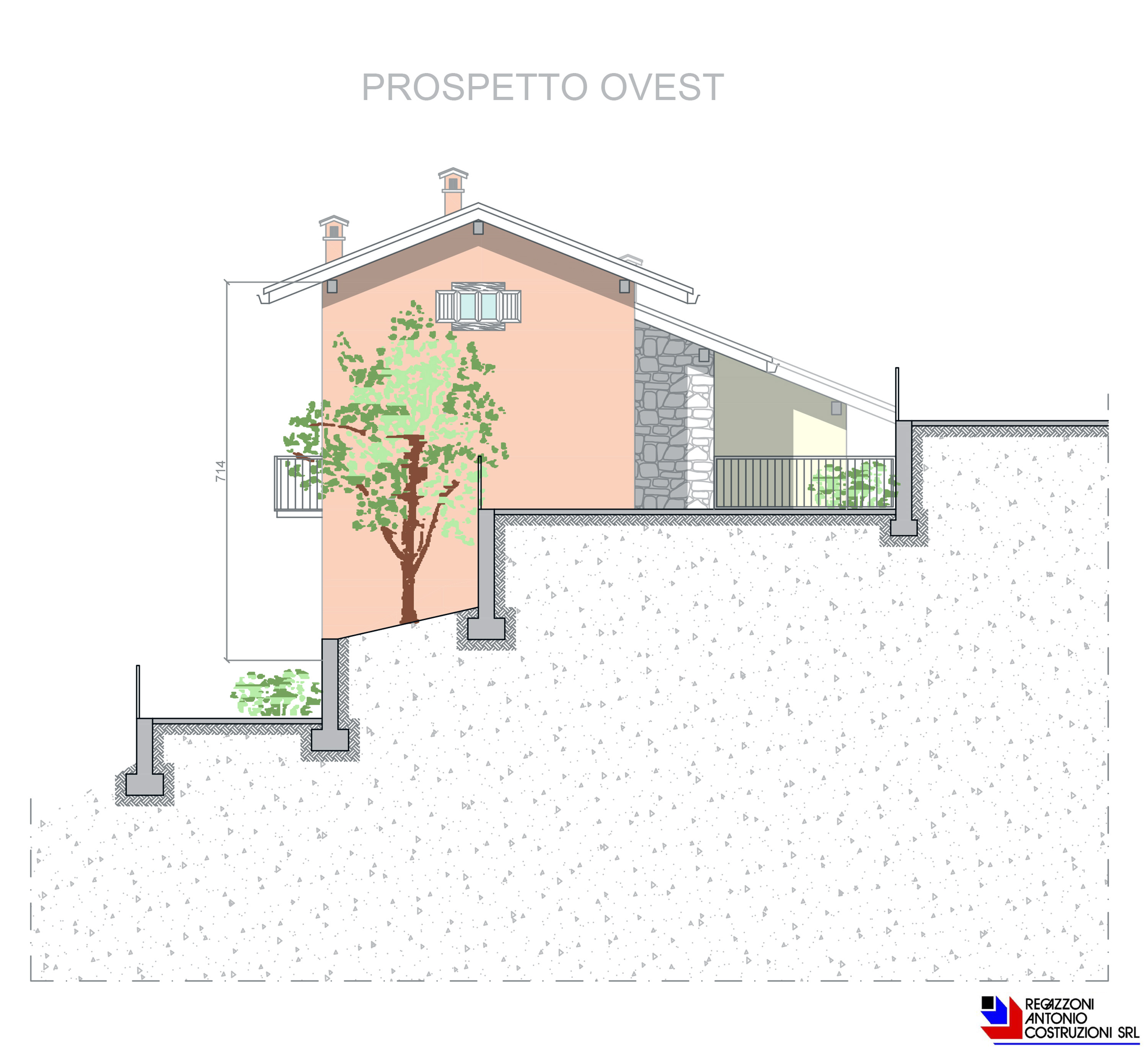 Prospetto ovest specifico Lotto E - scala 1a100