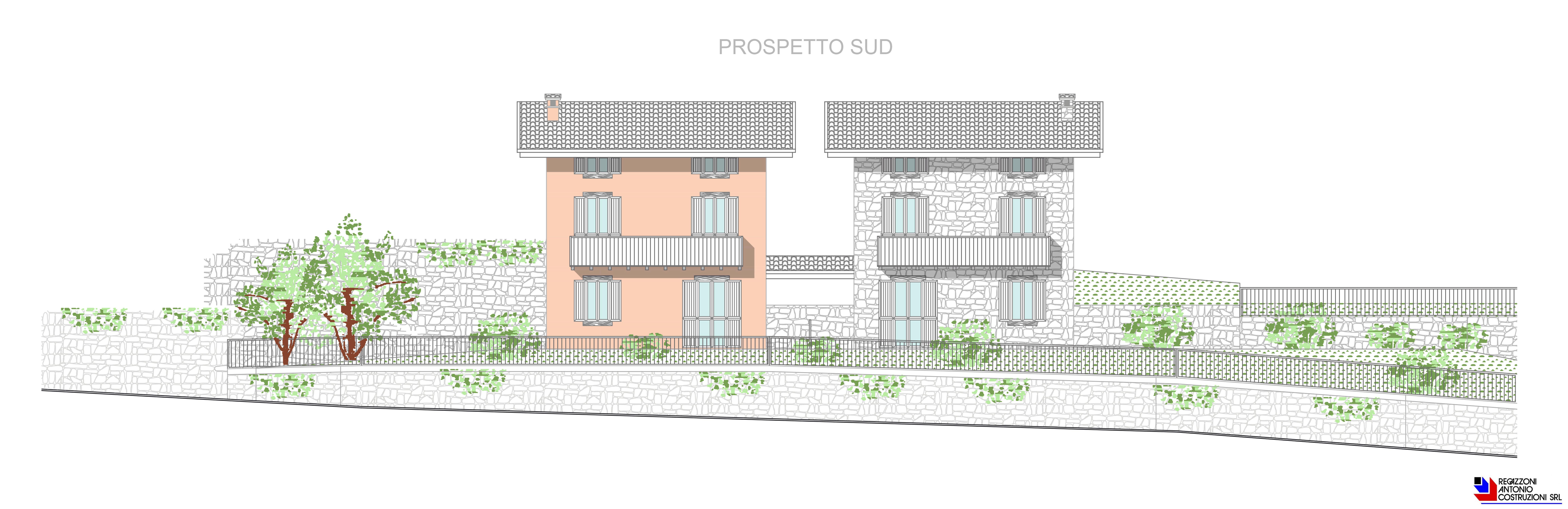 Prospetto sud villette - scala 1a100