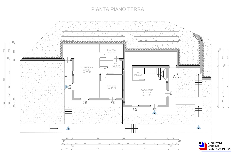 Pianta piano terra Lotto A - scala 1a100