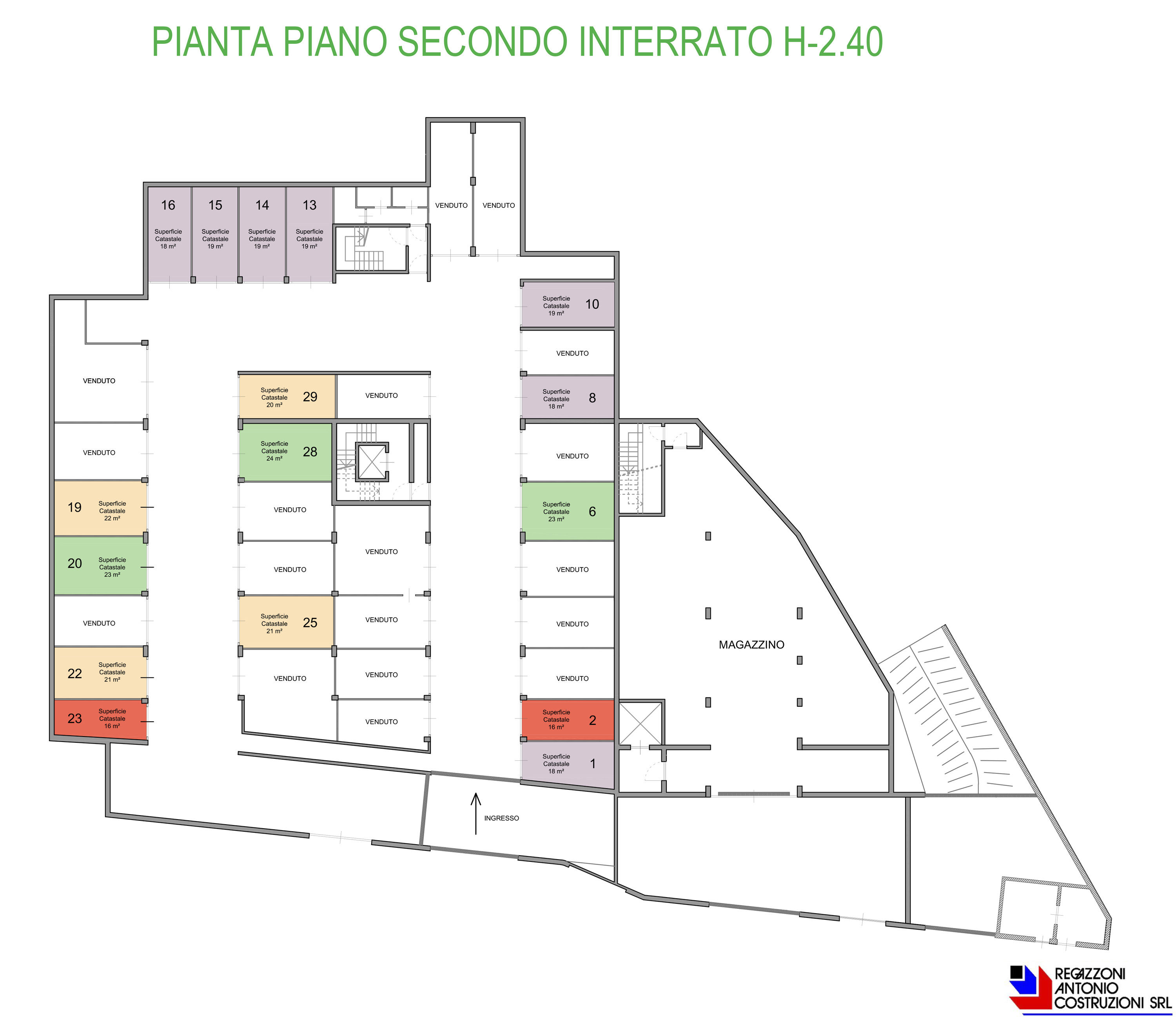 Pianta generale piano secondo interrato - scala1a200