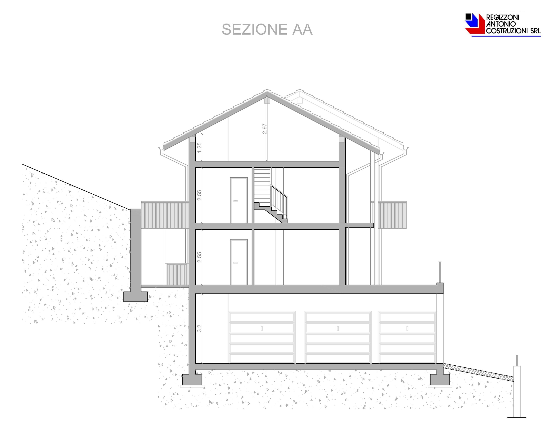 Sezione AA Monticello 3 - scala 1a100