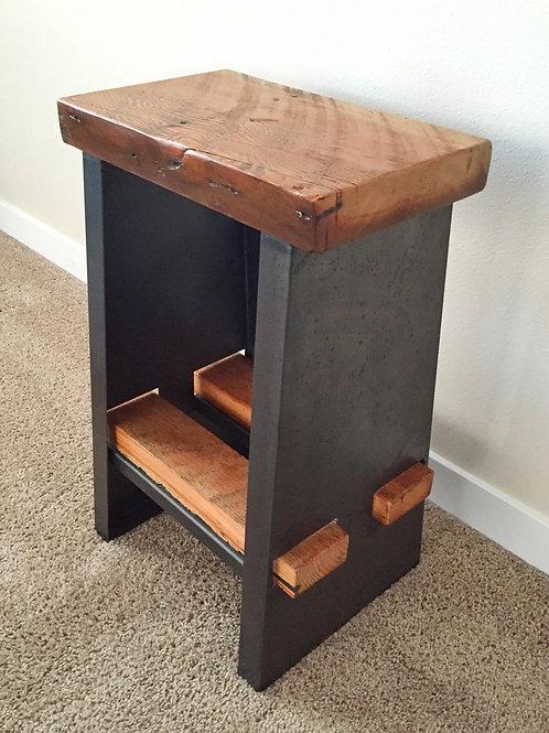 short kitchen bar stool with barn board seat