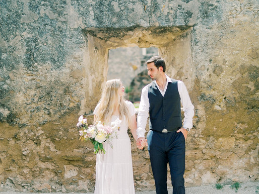 FEATURED ON TRENDY BRIDE- Timeless Spanish Mission Engagement Session- Madison and Jake