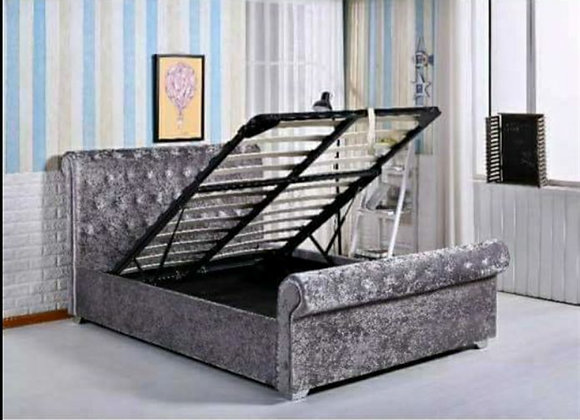 Sleigh gas lift ottoman storage / top upholstery bed