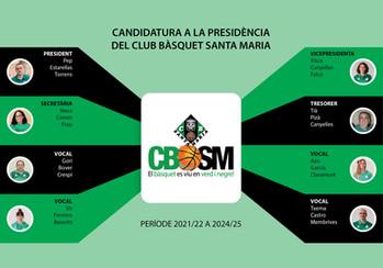 Primera candidatura de les eleccions a la presidència del Club Bàsquet Santa Maria: