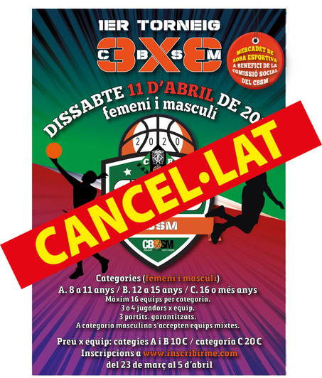 Cancel·lat el 1er Torneig 3X3 CBSM