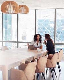 Two Businesswomen Using Laptop In Boardr