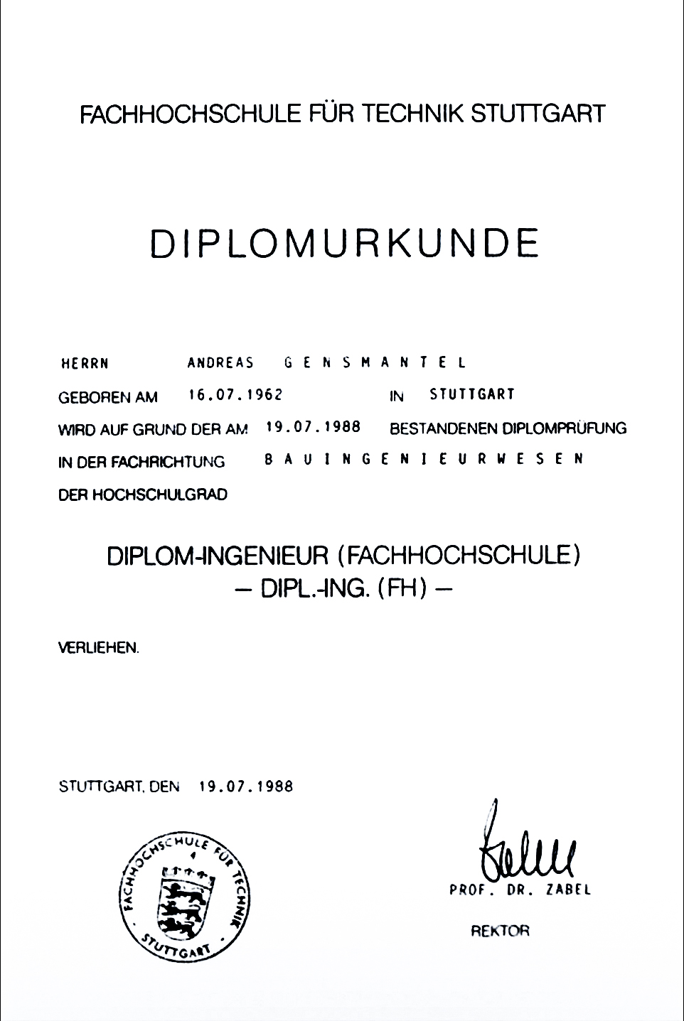 Diplomurkunde: Andreas Gensmantel