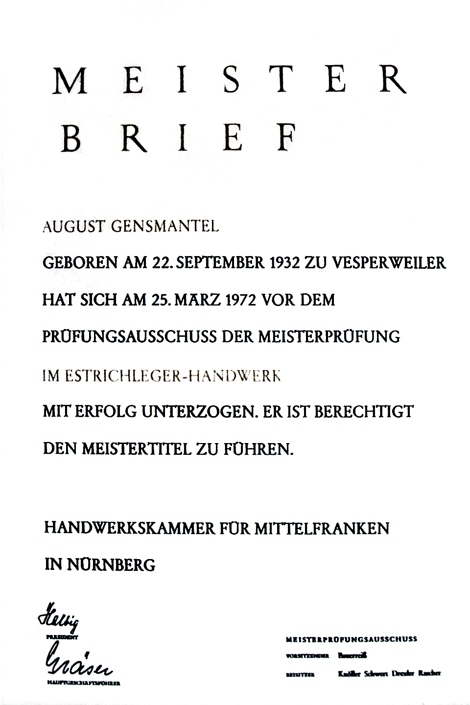 Meisterbrief: August Gensmantel