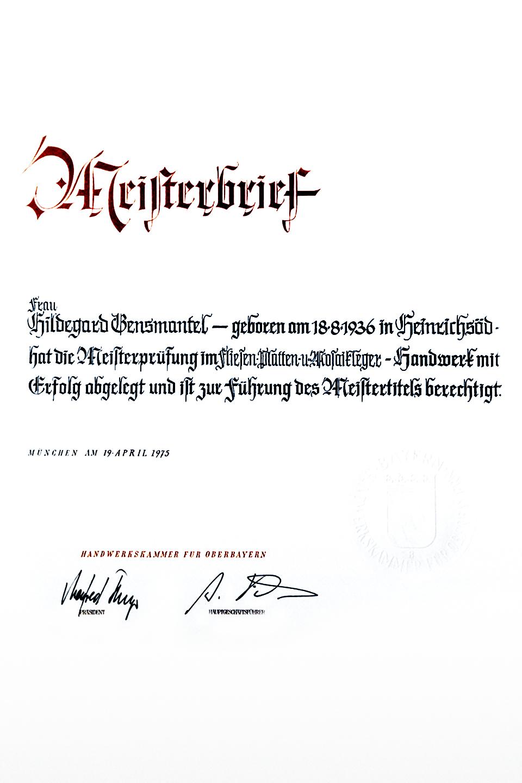 Meisterbrief: Hildegard Gensmantel