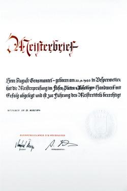 Meisterbrief: August Gensmantel