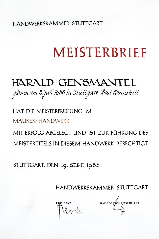 Meisterbrief: Harald Gensmantel