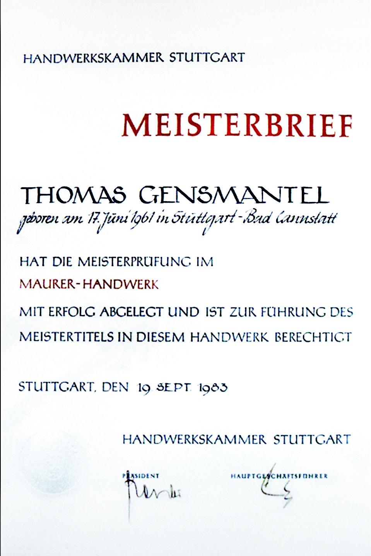 Meisterbrief: Thomas Gensmantel
