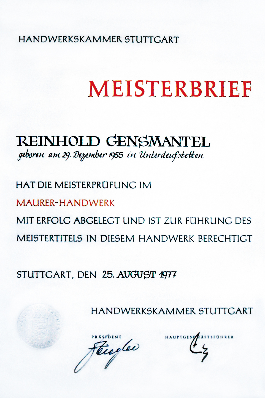 Meisterbrief: Reinhold Gensmantel