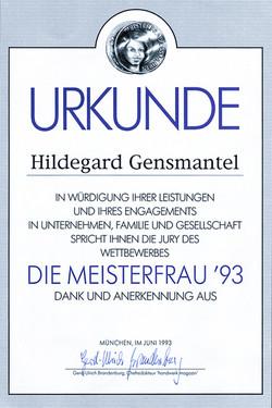 Urkunde: Hildegard Gensmantel