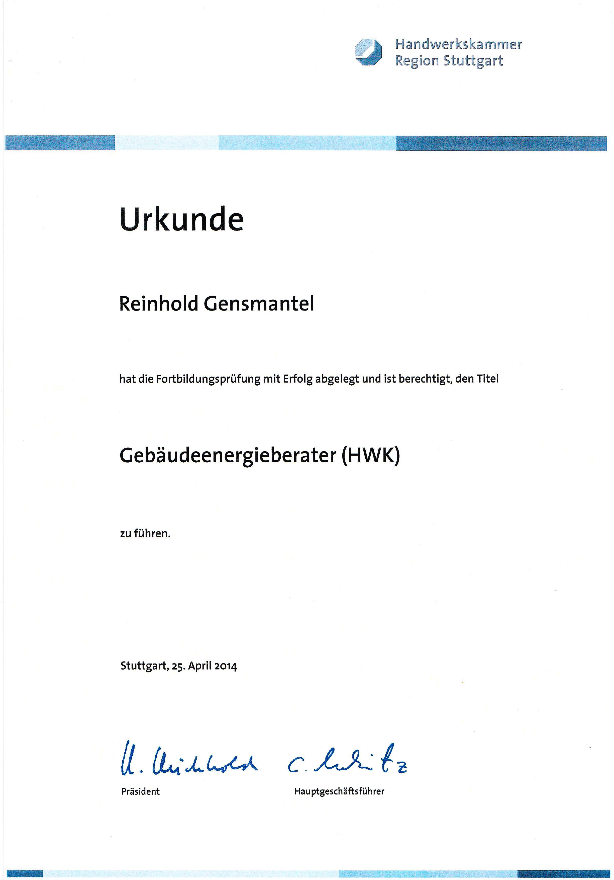 Urkunde Gebäudeenergieberater:
