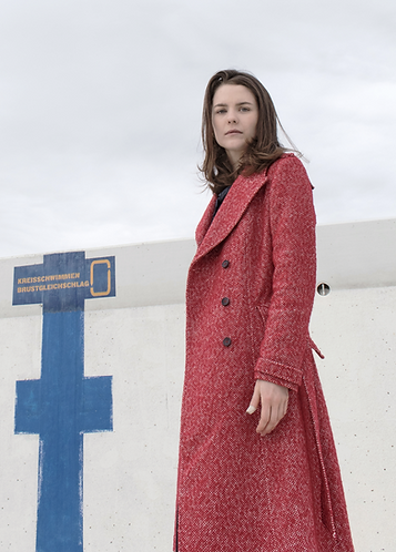 Mantel Veracruz rot und blau gesprenkelt