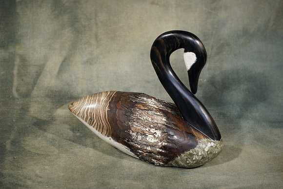 Small Preening Canada Goose Decoy Carving