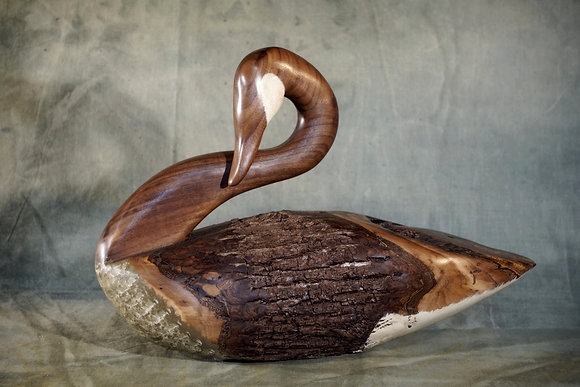 Large Preening Canada Goose Decoy Carving