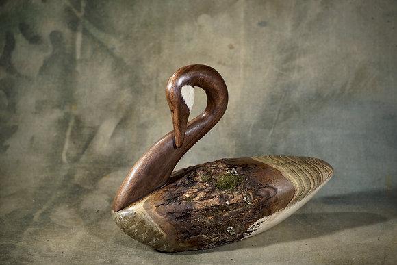 Walnut Head Preening Goose Carving