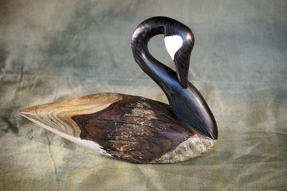 Preening Goose Decoy Carving