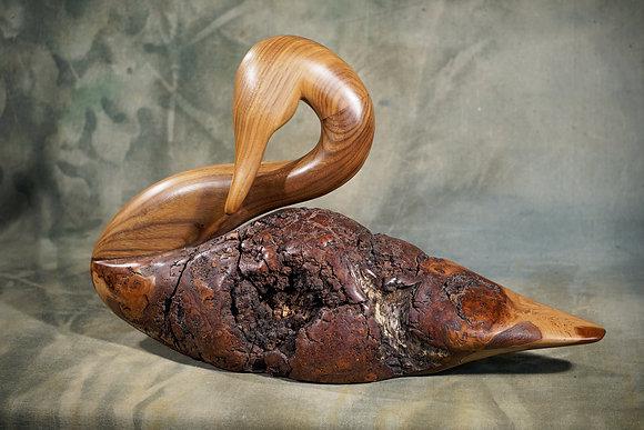 Natural Cherry Burl Swan Carving