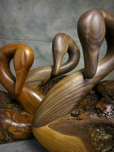 Burl Wood Carved Swan Group - Some with Cherry wood, some with Hickory wood