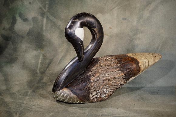Preening Canada Goose Carving