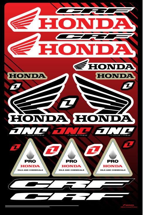 Cartela de adesivos Honda 01