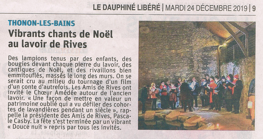 Article du Dauphiné Libéré. 2019.12.24-p