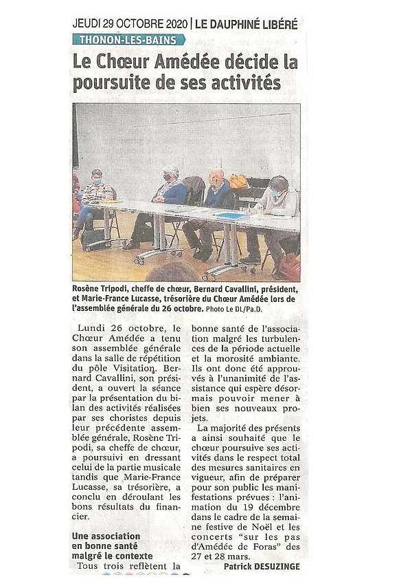 Ch. Amédée. AG 2020. Le Dauphiné Libéré