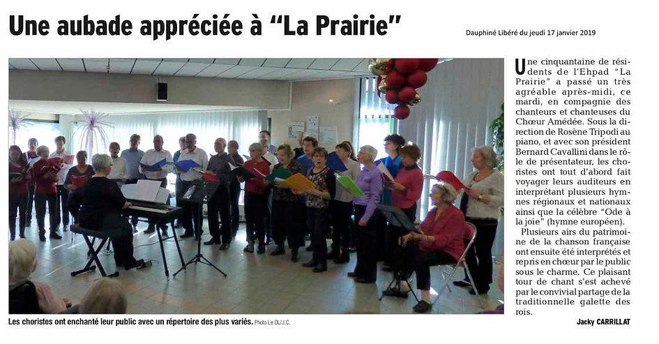 Choeur Amédée. Ehpad La Prairie le 15.01