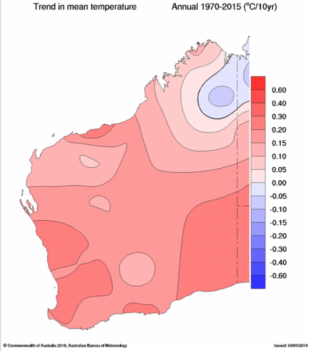 Mean temperature changes in WA -1970-2015 (degrees Celsius per decade)