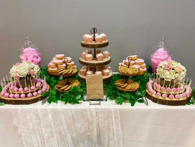Pink flower themed dessert buffet